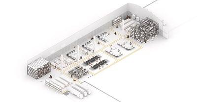 esquema del almacén con carretillas automatizadas AGVs